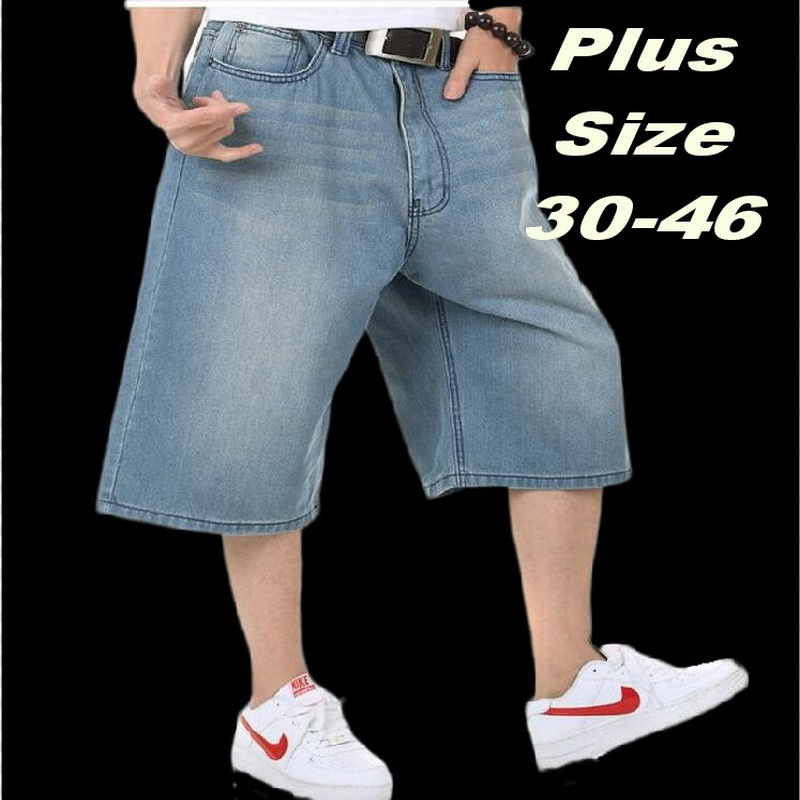 Mens Loose Denim Cargo Short Denim Hip Hop baggy Pants Shorts Jeans Waist 30-46