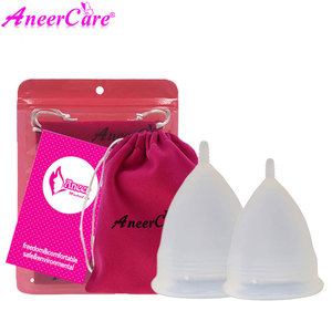 Image 5 - Coletor Menstrual 2Pcs Medical Grade Silicone Hygiene Menstrual Cups Lady Menstrual Cup Mestrual Aneercare Coupe Menstruell S+L