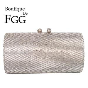 Boutique De FGG Bling Diamond Women Silver Evening Clutch Bags Formal Dinner Bridal Crystal Clutch Purses Wedding Party Handbags