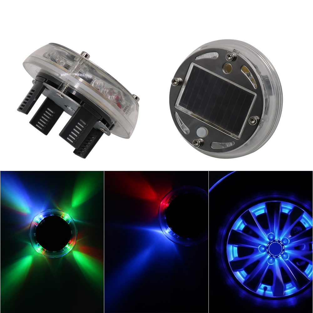 4x LED Tire Tyre Valve Cap Solar Power Car Flash Light For Car Motorcycle Wheel