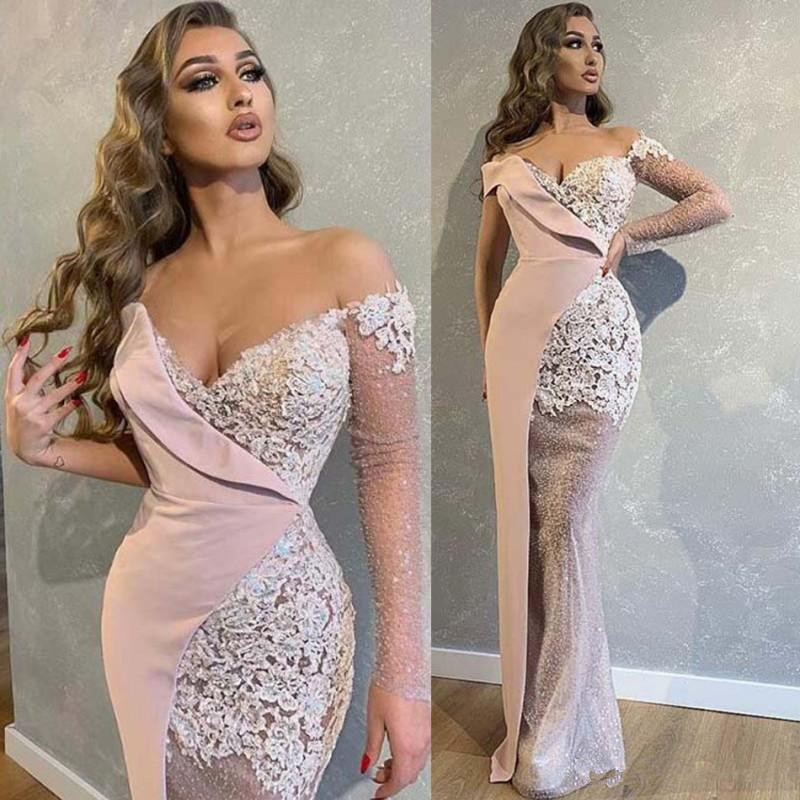Dubai Arabic Prom Dresses Off The Shoulder Illusion Long Sleeves Appliques Lace Mermaid Evening Dress Party prom Gowns Vestidos