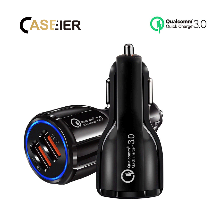 CASEIER Car Charger USB Quick Charge 3.0 For iPhone Samsung Xiaomi Fast Charging Adapter Mini QC 3.0 Car-Charger For Huawei P30