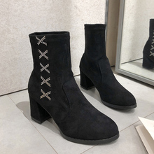 Crystal Ankle Boots Women 2019 New Fashion Fall Boots Women Elegant High Heels Boots Women Slip On Sexy Boots Suede Boots Black gray zipper suede ankle slip on women boots