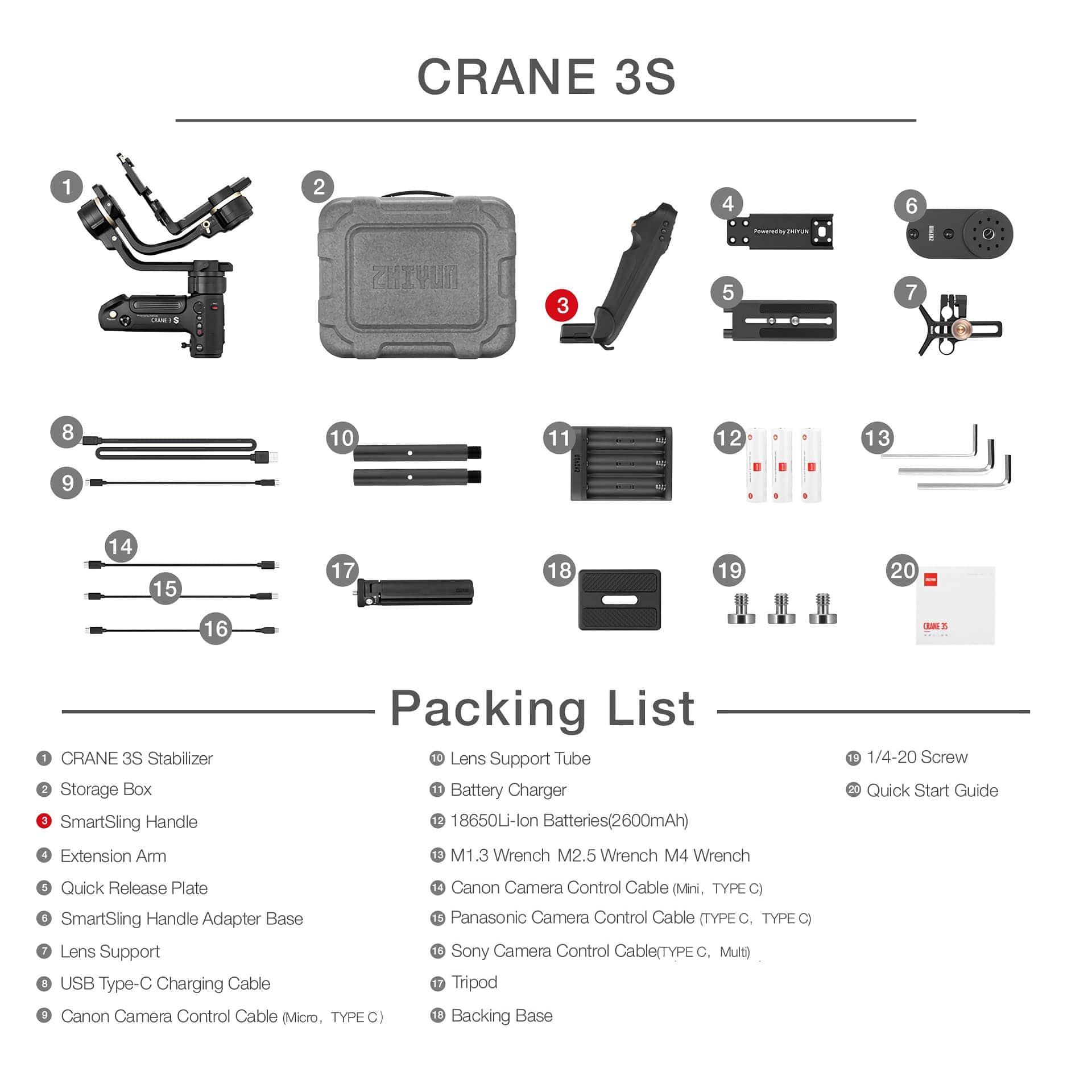 3-axis cardan handheld estabilizador suporte 6.5kg dslr
