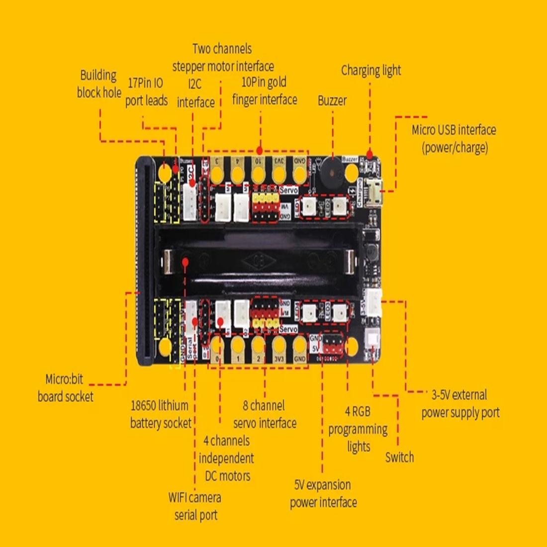 Programm Intelligente Roboter Baustein Auto Kit Verschiedene Formen Dampf Programmierung Bildung Auto Für Micro: Bit Programmierbare Spielzeug - 6
