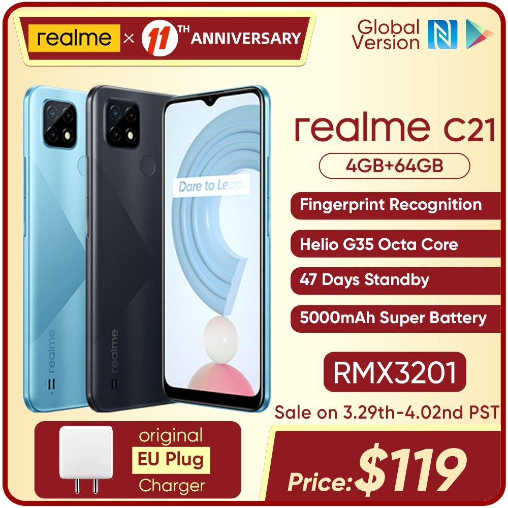 Смартфон realme C21 глобальная версия, Helio G35 восемь ядер, 4 Гб 64 ГБ, дисплей 6,5 дюйма, аккумулятор 5000 мАч, 47 дней в режиме ожидания, 3 слота для карт Смартфоны      АлиЭкспресс