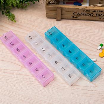 1 szt 3 kolory 7 dni tygodniowa porcja tabletek pigułka apteczka pudełko do przechowywania organizator pojemnik skrzynka pudełko na pigułki rozgałęźniki tanie i dobre opinie A688 Pill Cases Splitters piece 0 025kg (0 09lb ) 1cm x 1cm x 1cm (0 39in x 0 39in x 0 39in)