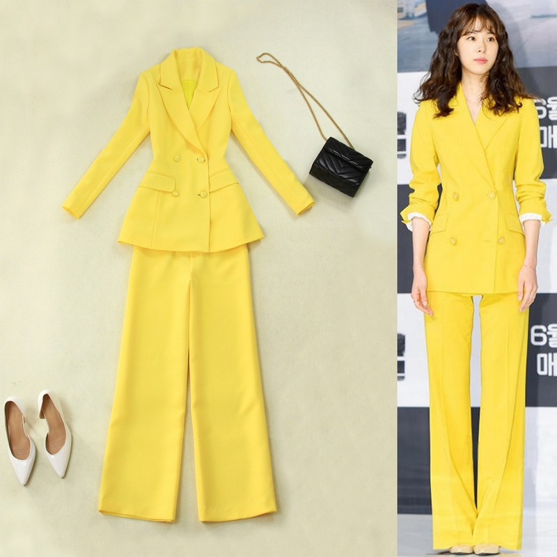 Plus Size Women's 2019 Spring And Summer New Yellow Waist Double Breasted Long Suit High Waist Wide Leg Pants Suit  Women Suit