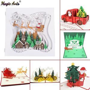 Christmas Card Santa Ride Xmas Festival New Year Card Winter Holiday Greeting Cards with Envelopes