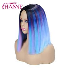 HANNE Synthetic Hair Wigs Ombre Black to Purple Mix Blue/Pink/Blonde/Grey Short Straight for Women Cosplay or Party