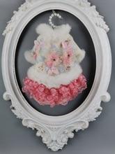 Ropa de lana hecha a mano para perro, abrigo mascota perro, vestido de conejo, cuello de piel Artificial, flores de cristal, ropa de gato Yorkie