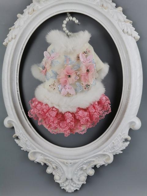 Ücretsiz kargo el yapımı köpek giysileri yün Pet Coat köpek elbise yapay tavşan kürk yaka kristal çiçekler kedi giysileri Yorkie