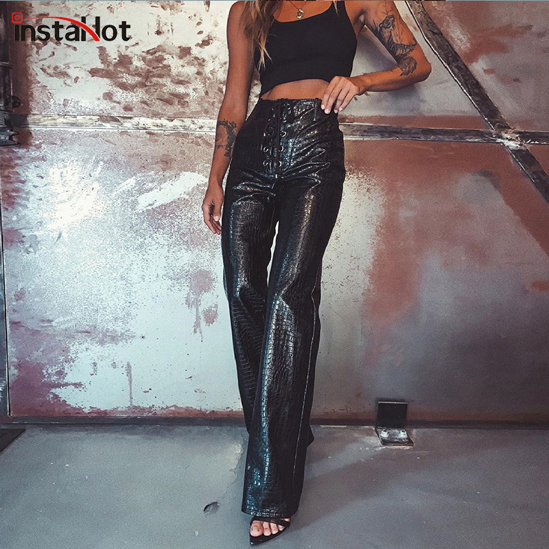 Sexy New Faux Leather Crocodile Print Pants Straight Pants Full Length Leather Ladies Flare Pants Casual Trousers Women 2020