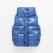 חדש אופנה מבריק חזיית ילד ילדים הלבשה עליונה חורף מעילי ילדים בגדים חם כותנה תינוק בנות בני אפוד עבור 90 170cm