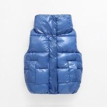 Nowe mody błyszczące dziecko kamizelka dziecięca odzież wierzchnia płaszcze zimowe ubrania dla dzieci ciepłe bawełniane dziewczynek chłopców kamizelka dla 90 170cm