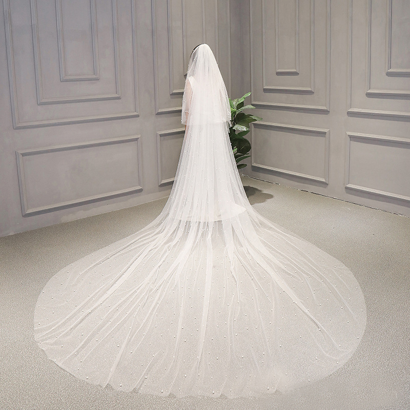 1 Tier 3M Cathedral Royal Pearl Wedding Veil Bridal Veils With Pearl Ivory