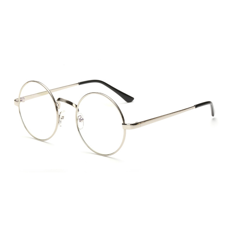Classic Metal Round Flat Mirror Women Glasses Transparent Lens Adult Eyeglasses image