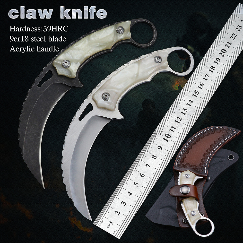 Claw Karambit Knife CSGO Tactical Knives 9cr18 Blade Fixed Blade EDC Tools Use Knives For Outdoor Camping And Hunting Survival