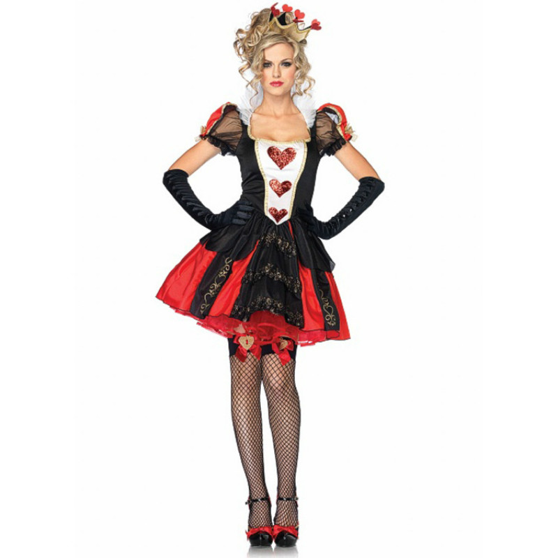 Alice In Wonderland Costume Women <font><b>Sexy</b></font> <font><b>Queen</b></font> Of Hearts Costumes Red <font><b>Queen</b></font> Cosplay for <font><b>Halloween</b></font> Female Party Dress C52654AD image