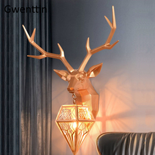 Nordic Gold Deer Head Wall Lights for Home Decor Modern Antlers Wall Sconce Light Fixtures Living Room Decoration Bedroom Lamp