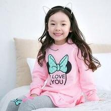 Комплект одежды для девочек с принтом «буквы» сборками и скругленным