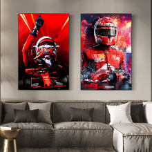 Kimi Raikkonen Iceman F1 Red Racer Canvas Painting Posters Abstract Print Modular Wall Art Picture For Home Living Room Bedroom
