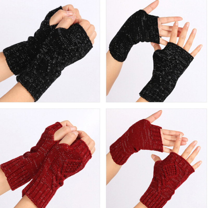 1Pair Women Autumn Winter Warm Knitted Arm Fingerless Gloves Long Stretchy Mittens Men Women Hand Arm Warm Gloves