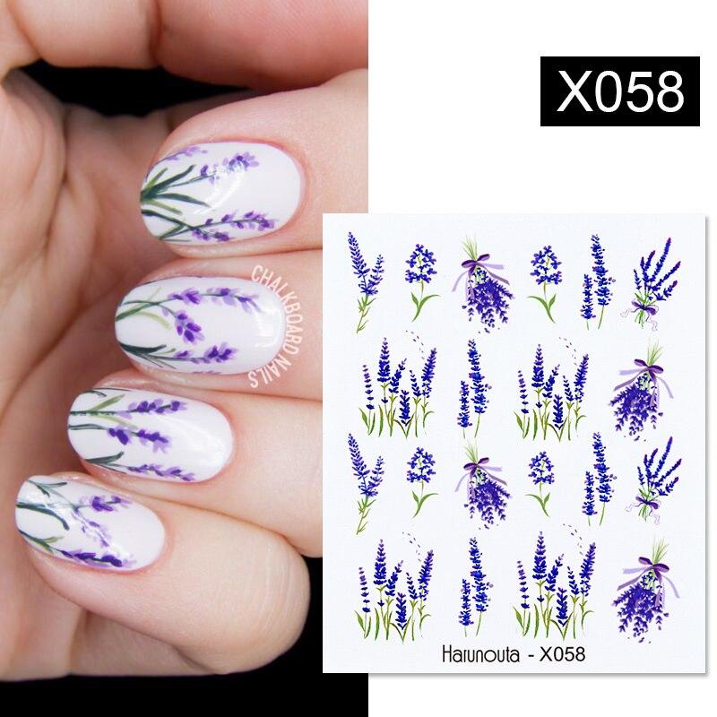 1 шт.; Цвет Фиолетовый, бледно-лиловый, лак для ногтей Водные Наклейки и изображениями красочного цветка лист переводятся с помощью воды, Сла...