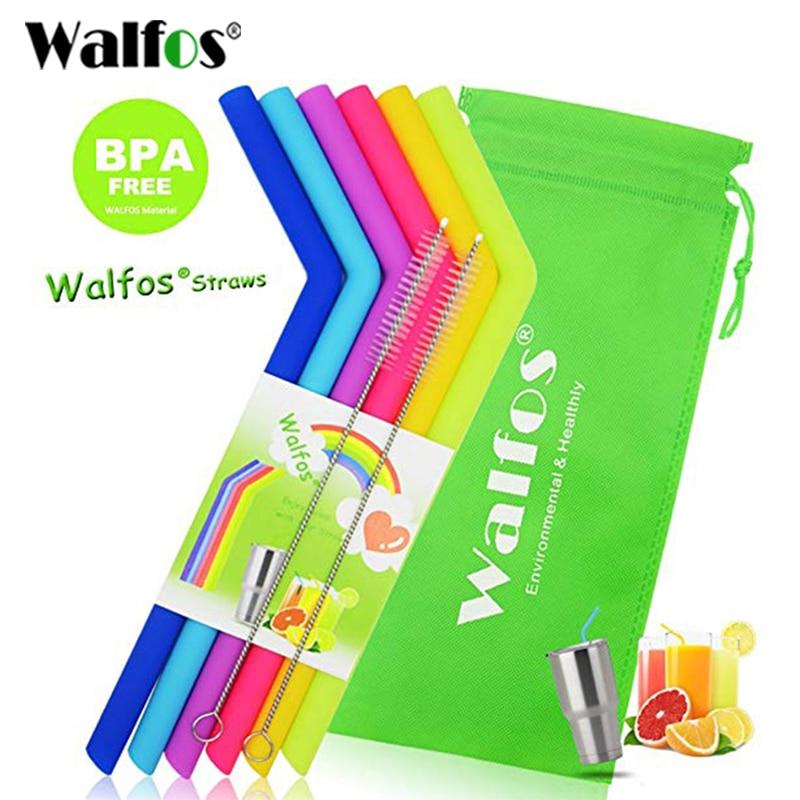 WALFOS qualité alimentaire 6 pièces Silicone taille régulière pailles réutilisables pour tasse gobelet pailles réutilisables pour boire