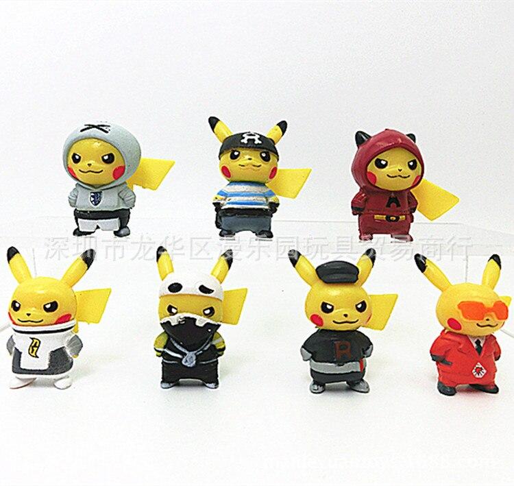 New Style 7pcs/set 3-3.5cm Mini Cartoon Pikachued Figure Pokemoned Figures Cartoon Pvc Action Figures Toys For Children P28