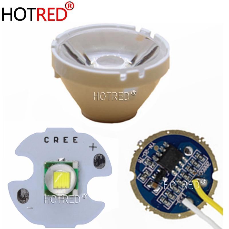 CREE XML XM-L T6 LED U2 10W Cold White 6500K/10000K High Power Led+3.7V 5 Modes 17mm Led Driver+T6 10 Degree Led Lens DIY Part