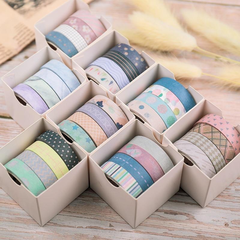 5 Pcs/pack Striped/Grid Washi Tape Set Decoration Sticker Scrapbooking Diary Adhesive Masking Tape Stationery School Supplies