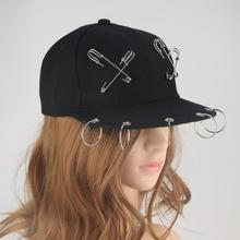 Punk Rock Style Women Crossed Pin Metal Ring Baseball Cap Hip Hop Hats Black Snapback Caps Tide Men Dance 2019