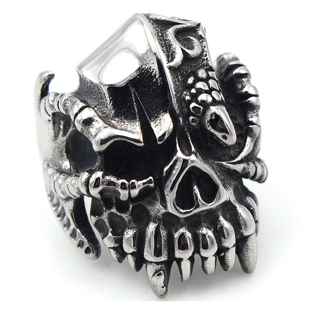 STAINLESS STEEL EAGLE CLAW SKULL RING