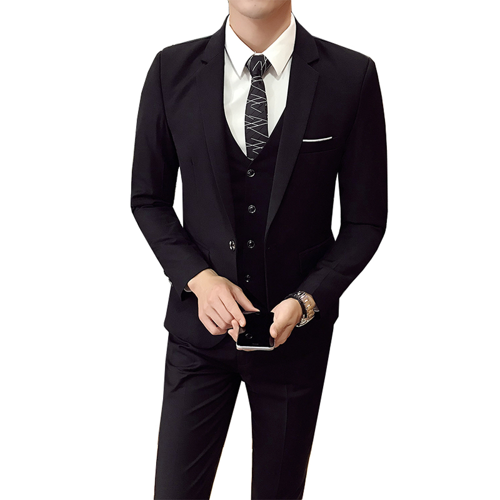 (Jacket+Pant+vest) Men Wedding Suit Male 3 Pieces Set Korean Version Blazers Slim Fit Business Formal Costume Casual Party