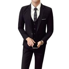 (מעיל + מכנסיים + אפוד) גברים חתונה חליפת זכר 3 חתיכות סט קוריאני גרסה טרייל Slim Fit עסקי פורמליות תלבושות מקרית מפלגה