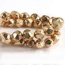Natural facetado rocha vulcânica lava hematite banhado a ouro solto espaçador grânulos de pedra para fazer jóias diy energia pulseiras 15