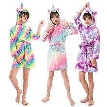 Kigurumi Children Bath Robe Baby Towel Children's star Unicorn Hooded Bathrobes For Boys Girls pajamas Kids Sleepwear Robe 3-11T все цены