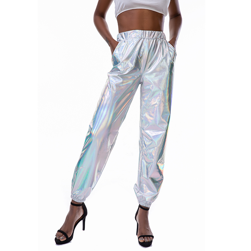 Harajuku Sparkle Holographic High Waist Long Pants Sexy Women Loose Sweat Pants Hippie Night Club Elastic Trousers 4 Colors