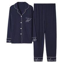 ダークブルー女性秋 & 冬 100% 綿のパジャマのスーツ長袖シンプルsoild緩いホームスーツプラスサイズパジャマセットxl xxl xxxl