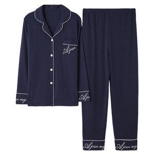 Image 1 - Azul escuro feminino outono & inverno 100% algodão pijama terno manga longa simples soild solto casa terno mais tamanho pijamas conjunto xl xxl xxxl