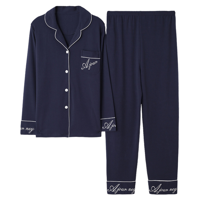 Pijama de algodón de 100% para mujer, traje de manga larga, liso, holgado, para casa, pijamas de tamaño grande, XL, XXL, XXXL