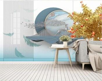beibehang Customized new Chinese style modern minimalist light luxury landscape elk gilt background wallpaper papier peint