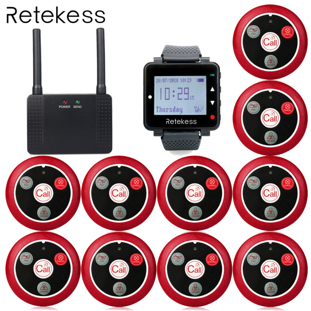 Wireless Calling System T128 Watch Receiver 10 pcs T117 Call button Wireless Repeater Restaurant Pager Customer