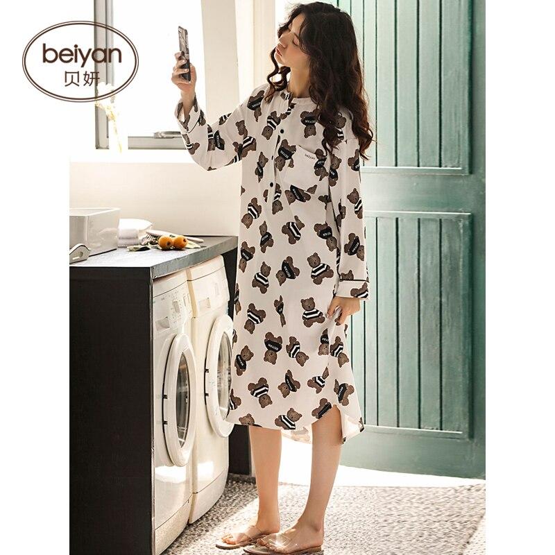 Autumn Full Sleeve Nightgown Cute Cartoon Girl's Nightgown Pure Cotton Household Pajamas Set