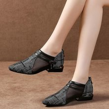 Women Summer Pumps Pointed Toe Chunky Low Heels Office Ladies Gladiator Sexy PU Leather Shoes Woman Mujer Sapato Feminino A12
