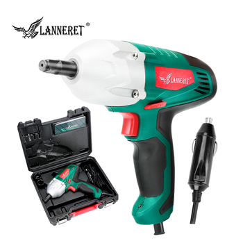 LANNERET 12v Car Electric Wrench 80W Impact Wrench 300N.m Electric Tire Repair Tool with 2pc Double Sleeve Cigarette Lighter