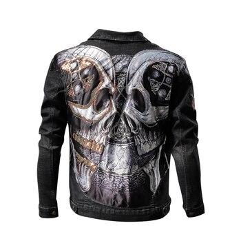 2020 Punk Sequin Skulls Denim Jacket Men Hip Hop Embroidery Streetwear Jeans Jacket Hipster Fashion Men S Hip Hop Denim Jacket Buy At The Price Of 46 86 In Aliexpress Com Imall Com