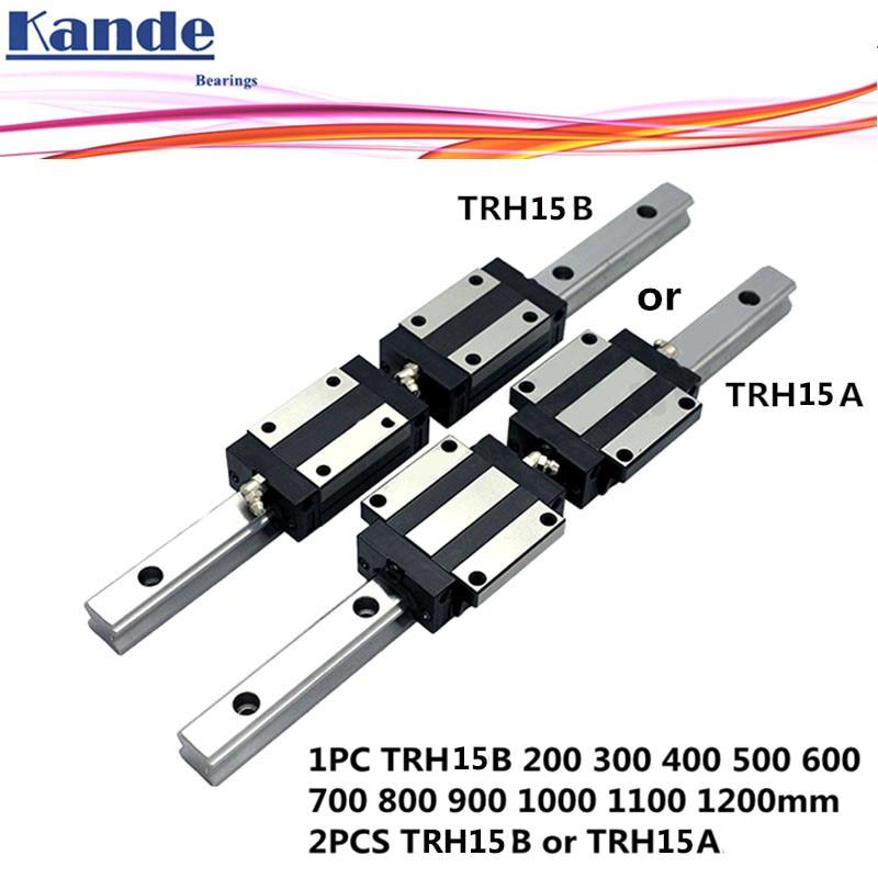 Rail de précision 1PC TRH15 Linéaire guide + 2 pièces TRH15B Bloc ou TRH15A Bride Bloc L 300 400 500 600 700 800 900 1000 mm pour CNC