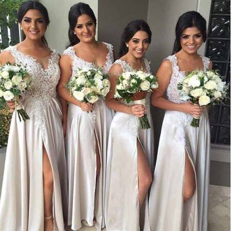 Elegant Appliqued Lace Sleeveless A-line   Bridesmaid     Dresses   Simple Scoop Neck Floor Lenght Custome Wedding Party Gown For Women
